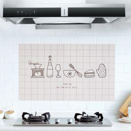 impressão de adesivo de vinil Desconto Utensílios de cozinha Óleo de Cozinha Adesivos Auto-adesivo de Alta Temperatura Mancha de Óleo Adesivos de Parede Casa Fogão Telha Simples Adesivos de Parede