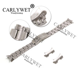 bracelet solid Coupons - CARLYWET 20mm Solid Stainless Steel Links Hollow Curved End Deployment Glide Lock Clasp Brushed Buckle Bracelet for 70216 455B