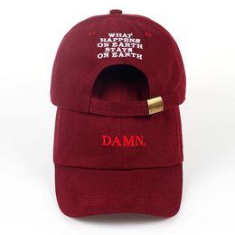 Wholesale Army Dad - 2018 ne'w wine red kendrick lamar damn cap embroidery DAMN. unstructured dad hat bone women men the rapper baseball cap