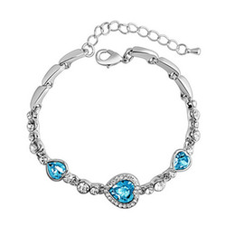 Wholesale Heart Ocean Jewelry Set - Hot selling The heart of the ocean of love heart-shaped Bracelets zircon crystal bracelet jewelry wholesale