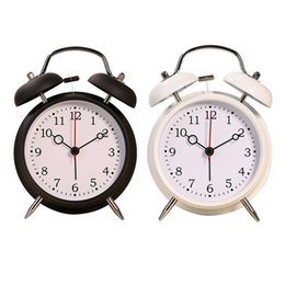 Wholesale Modern Metal Clock - Creative Round Bell Clock Dual Bell Alarm Clock with Warm Night Lights Design, 2 color options