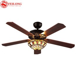 Wholesale Downlight Inch - COLORFUL glass shade 52 inch brown wood blades CEILING FANS lights Vintage Tiffany Stained Glass Flowers Downlight Ceiling Fans