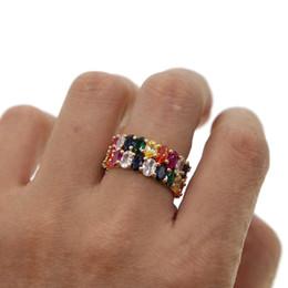 2019 14k anel de ouro amarelo pedra Estilo europeu moda colorido oval cz anéis de noivado de casamento banda arco-íris shinny dedo jóias mulheres de luxo gorgeous rings