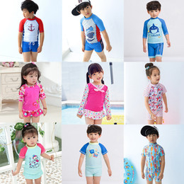 Wholesale Wholesale Baby Boy Swimwear - Boys Swimwear Summer Baby Kids Swimsuits 3 Pieces Swimming Clothes 2018 Beach Surfing Bathing Suits 1-10 Years