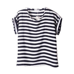 Discount chiffon heart applique - Wholesale- Women Chiffon T Shirts Tops Loose Short Sleeve Ladies T-shirts Striped Heart Lip Tops HOT 15 Colors Hot 2016