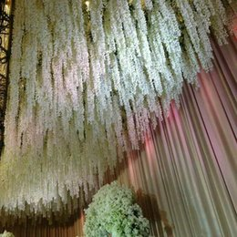 Wholesale Wholesale Silk Xmas Flowers - New Arrival Elegant Artificial Hydangea Silk Flower Vine Home Wall Hanging Wisteria Garland 14 colors Available For Wedding Xmas Decoration