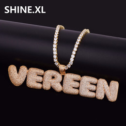 Wholesale Copper Gold Silver - Hip Hop Custom Name Combination Bubble Letter Pendant Necklace Micro Cubic Zirconia Gold Silver Color Copper Pendant Necklace
