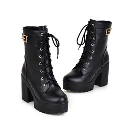 2a38f436ae6 2018 Autumn Winter Women Ankle Boots thick Sole Heels Black Lace up Women Punk  Boots Sexy Ladies Boots Shoes Plus Size