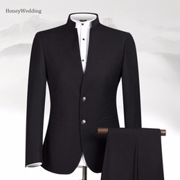 Wholesale Chinese Custom Suits - Men Suit Sets Chinese Tunic Suits Stand Collar Classic Suit Blazer Brand Design Business Custom Formal Male Cotton Sets