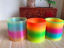 Wholesale slinky wholesale - Fashion Rainbow circle Colorful Rainbow Plastic Magic Slinky Kids Children Classic Development Educational Toy Christmas Gifts DHL 060