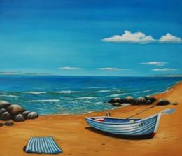 pittura ad olio sulla spiaggia del mare Sconti Dipinto a mano Moderno astratto Seascape barca pittura ad olio Natura morta Mare blu e la spiaggia su tela Wall Art canvas Living Room Home Decor