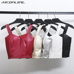 c218c17d87 JYConline PU Leather Bralette Women s Bustier Crop Top Push Up Top Cropped  Feminino Tight Camisole Bra Corsets Short Tank Tops