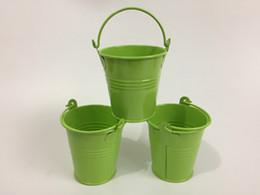 Wholesale Iron Pots Holder - 30Pcs Lot Light Green D7*H7CM Easter Egg Pots Tin box Iron pots Mini Pails Party Favor Holder SF-018G
