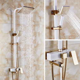Wholesale Square Tap Set - Dofaso square head big rainfall shower set and square tube shower ivory white and rose golden colour high-end villa taps