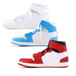 Nike off white air jordan retro 1 Mens tênis de basquete Chicago branco  vermelho UNC designer homens mulheres moda off sports sneakers tamanho  5.5-11 f03332d862beb