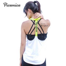 Wholesale Womens Running Tanks - Picemice Womens Sport Shirts Yoga Tops Sleeveless Vest Fitness Running Clothes For Female Breathable Tank Tops Running Vest