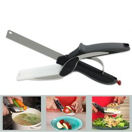 Canada Cutter Clever 2 en 1 Couteau de cuisine à découper Ciseaux Cutter Conseil alimentaire cuisine en acier inoxydable pour la viande aux légumes Offre