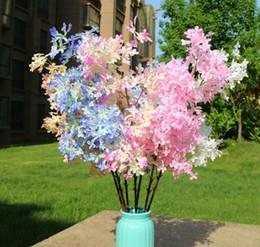 2019 matrimonio di fiori di sakura Lilla fiori finti floreali in plastica fiori Sakura Cherry Blossom per la casa di nozze Decorazione fai da te arco di nozze Decoratio sconti matrimonio di fiori di sakura