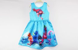 Wholesale Cartoon Children Vest - 2018 hot sell Girl Trolls Poppy Branch Princess Dress Children high quality cartoon bowknot sleeveless vest dresses clothes