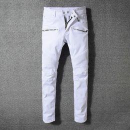 Wholesale l decoration - Balmain Fashion New Army Green Bike Jeans White Men's Fashion Pleated Stretch Denim Skinny Jeans Zipper Decoration Slim Patchwork