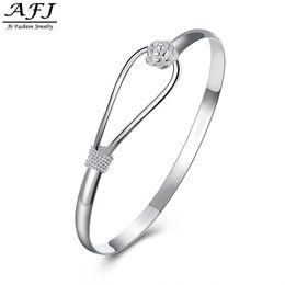 Простой круглый браслет онлайн-2018 Fashion Jewelry Plated Silver Simple Circle Flower Rose Cuff Bangle Bracelet Elegant Fashion Style Charm For Girl Women