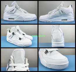 Wholesale Iv Training - Air Retro 4 IV Womens Basketball Shoes Pure Money Mens White Pures Men Outdoor Retros 4s Sports Shoes Training Shoe Athletic Sneakers Boosts