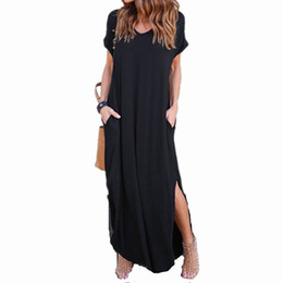 b7bbe7373ebc Casual Solid Autumn Dress 2017 Women Elegant Loose Short Sleeve O Neck Dress  Boho Long Maxi Dress Vestidos Plus Size Oversized Y1890703