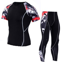 Wholesale Cycling Shirts Wholesale - Mens tight fitness running suits breathable riding new T shirts quick dry Cycling suit outdoor gym clothing sports Exercise shirts and pants