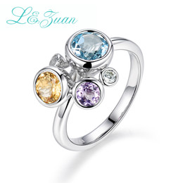 Discount yellow stone jewelry sets - I&Zuan 925 Sterling Silver Jewelry Ring For Women Natural Gemstones 3 Color Blue&Yellow&Purple Topaz Stone Fine Jewelry 8757