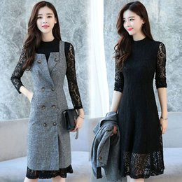 Wholesale ladies chiffon vest - Lady Casual Double-breasted Vest Coat lapel Jacket with Sexy Lace Chiffon Dress Hollow Out Knee-length dress Fashion Two sets Free Shipping