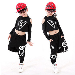 Wholesale Girls Hip Hop Dancewear - New Children Sets Girl Boy Black Jazz Hip Hop Modern Dancewear Set Kid Dance Costume Short Sleeve Top & Pants Fit 4-12Y 6