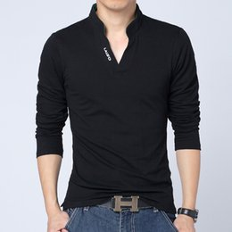 Wholesale Men S Big Collar Shirts - Big Size S -5xl 2018 Mens Fashion Boutique Cotton Leisure Stand Collar Long Sleeve Polo Shirts  Male Pure Color V -Neck Polo Shirt