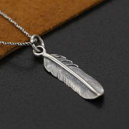 Thailändische anhänger online-S925 Sterling Silber Takahashi Goro Schmuck Vintage Retro Thai Silber Weibliche Handgemachte Adler Flügel Federn Anhänger Anhänger