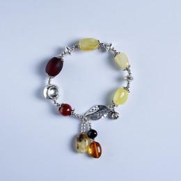 Cuir ambré en Ligne-Authentique bracelet en cuir fait main 100% en argent Sterling avec bracelet en cire d'abeille, ambre naturel, cire d'abeille naturelle, pierre BR4014