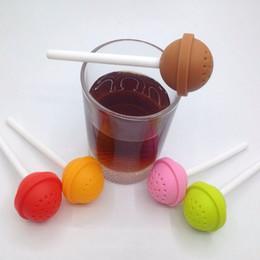 Bonbons en forme d'outil en Ligne-Lollipop En Forme de Thé Infuseur Creative Multicolore Silicon Candy Lolly Thé Passoire Nouveau Arrivel Thé Cuisine Outils