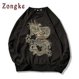 Wholesale Sweatshirt Chinese - 2018 New Chinese Dragon Embroidery Sweatshirt Mens Pullovers Moletom Masculino Hip Hop Sweatshirts Men moletons Sudadera Hombre