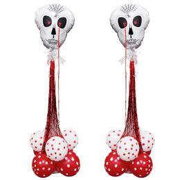 белые колонны Скидка Белый череп фольги воздушные шары набор с дождем кисточкой воздушные шары красный круглый латексный шар колонка стенд Home Decor Хэллоуин украшения