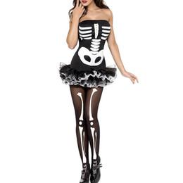 2019 corpo inteiro catsuit branco Mulheres Cosplay dress terno esqueleto Halloween tubo slim top sem mangas saia fofa uniforme para clube de festa