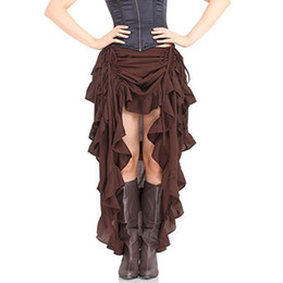 ac40cb4168924 Brown Adjustable Asymmetrical Ruffle Front Short Back Sexy Long Gothic  Skirt Vintage Steampunk Skirts For Women Matching Corset