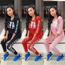 Wholesale V Neck Running Shirts - Pink Women Sportswear Suit Leggings Shirts Running Pullover Trousers Set Letter Print half sleeve Tops Coats Pant Casual Tracksuit S-XL