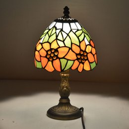 Wholesale small bedside table lamps - Tiffany Small Table Lamp Country Sunflower Stained Glass Bedside Lamp E27 110-240V