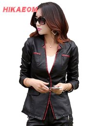 Wholesale Leather Jacket Ladies - Wholesale- Leather Jackets For Women Suede Blazer Biker Ladies Patchork Synthetic Lether V-neck Brand Factory Direct Faux Leather Jacket