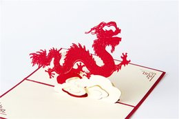 giochi di natale di carta Sconti 100mm * 150mm 3D Dragon Best Wishes Happy Greeting Card Cartolina di Natale Anno nuovo Biglietto di auguri Regalo fai da te