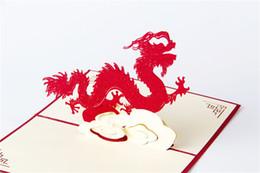 Tarjetas de felicitación para el nuevo año online-100mm * 150mm 3D Dragon Best Wishes Happy Greeting Cards Tarjeta de Navidad Año Nuevo Tarjeta de felicitación DIY regalo