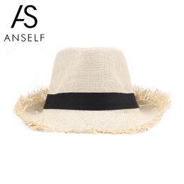 Anself moda playa sol sombrero lindo niños sol sombreros arco hecho a mano mujeres  sombrero de paja playa borde grande sombrero casquillo ocasional de las ... e68b49ce1af