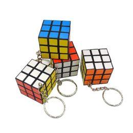 Wholesale keychain carabiner light - 3 X 3 X 3 CM Mini Magic Cube Puzzle KeyChain Toy Pendant Key Ring Square key ring kids toy gift FFA187 120PCS
