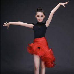 Canada enfants jupes rouges concours sexy robes de tango personnalisé costumes de danse de salle de bal usure fille rumba costume latin robe pour les filles supplier tango sexy red dresses Offre