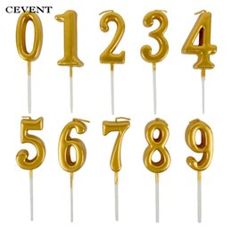CEVENT 1pc Gold Candles For Happy Birthday Party Decorations Kids Adult 0 9 Number Cake Cupcake Topper Supplies On Sale