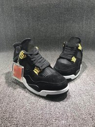 Wholesale Crystal B - New Arrival Air J 4 Black Suede basketball Shoes J 4 Banned Crystal transparent sole Sneakers size 7-13