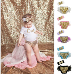 Wholesale Baby Bloomers Headbands - Girls Bow Headbands Sequins Bloomers Set Baby Ruffled Diaper Covers Princess Shorts Boutique Underwear 17 color KKA4037